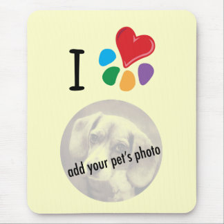 Animal Lover_I Heart your pet's photo template Mouse Pad