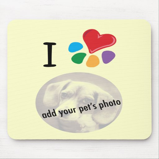 Animal Lover_I Heart your pet's photo template Mouse Pads