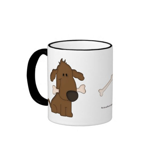 Animal Lover-Paws and Puppy Dog with bone. Coffee Mug