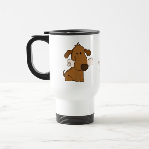 Animal Lover-Paws and Puppy Dog with newspaper. Coffee Mugs