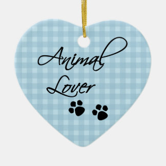 Animal Lover-paws Double-Sided Heart Ceramic Christmas Ornament