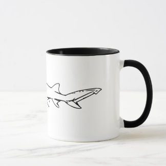 Animal Lovers | Black and White Shark Illustration Mug
