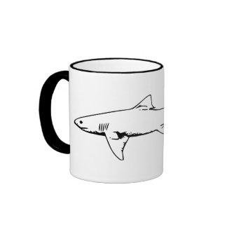 Animal Lovers | Black and White Shark Illustration Ringer Mug