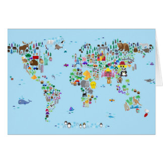 Animal Map of the World Card