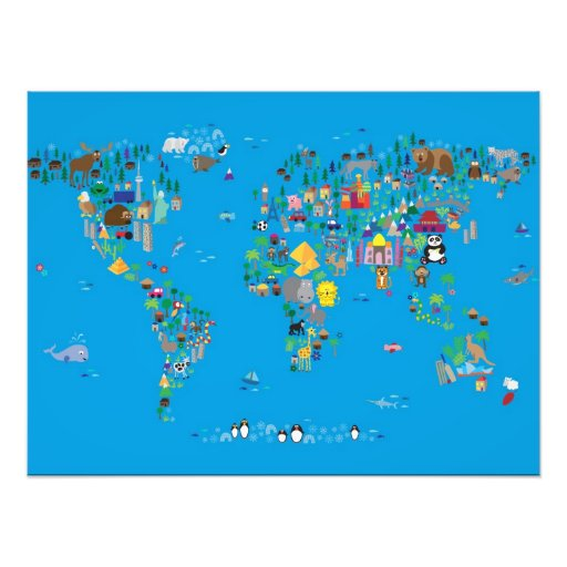 Animal Map of the World for children and kids Art Photo