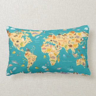 Animal Map of the World For Kids Lumbar Pillow