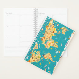 Animal Map of the World For Kids Planner