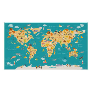 Animal Map of the World For Kids Poster
