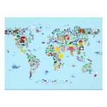 Animal Map of the World Photo Print