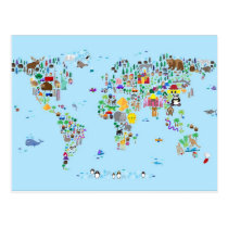 Animal Map of the World Postcard