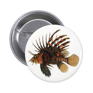 Animal marino de la vida del océano del vintage, chapa redonda 5 cm