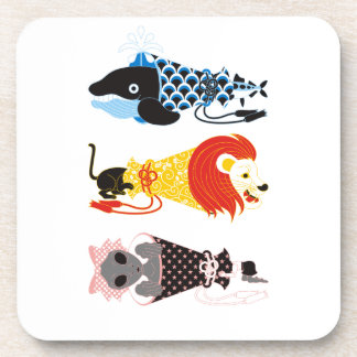 Animal megaphone…Fish cat woman (ANIMAL MEGAPHONE Beverage Coaster