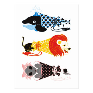 Animal megaphone…Fish cat woman (ANIMAL MEGAPHONE Postcard