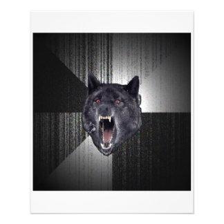 """Animal Meme del consejo del lobo de la locura Folleto 4.5"""" X 5.6"""""""