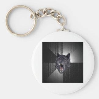 Animal Meme del consejo del lobo de la locura Llavero Redondo Tipo Pin