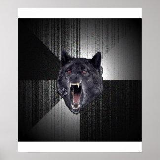 Animal Meme del consejo del lobo de la locura Poster