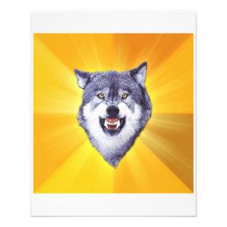 """Animal Meme del consejo del lobo del valor Folleto 4.5"""" X 5.6"""""""