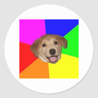 Animal Meme del consejo del perro del consejo Pegatina Redonda