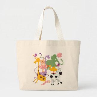 Animal Menagerie Elephant Giraffe Cat Large Tote Bag