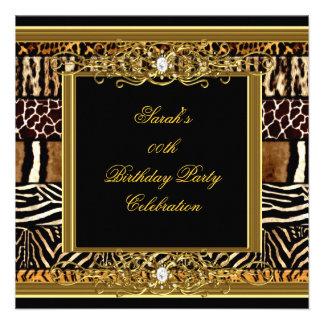Animal mezclado de cumpleaños de la fiesta del oro comunicados personalizados