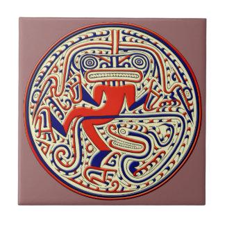 Animal mitológico precolombino azulejo cuadrado pequeño