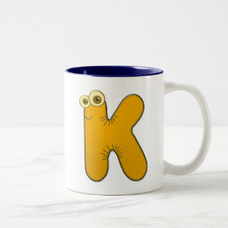 animal monogram - K Two-Tone Coffee Mug