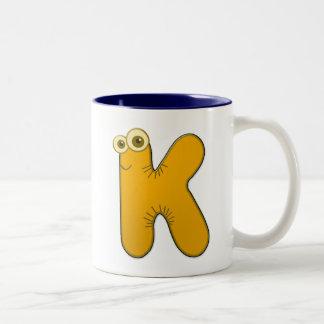animal monogram - K Two-Tone Coffee Mug
