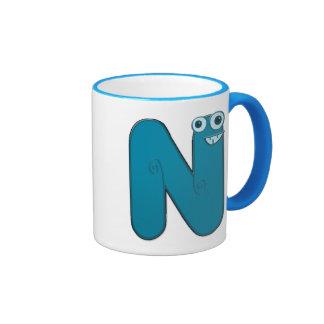 animal monogram - N Ringer Mug