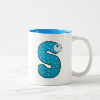 animal monogram - S Two-Tone Coffee Mug
