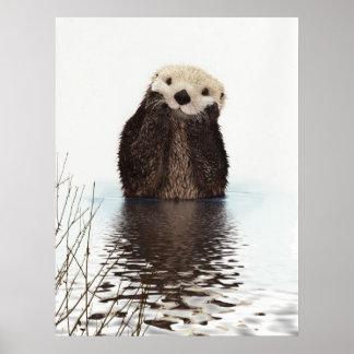 Animal mullido adorable lindo de la nutria poster