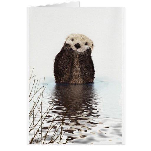 Animal mullido adorable lindo de la nutria tarjeta de felicitación