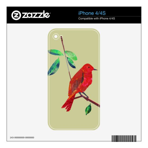 Animal Nature Modern Abstract Art  Bird on Branch Decals For The iPhone 4