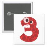 Animal number 3 pinback button