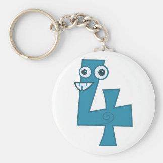 Animal number 4 keychain