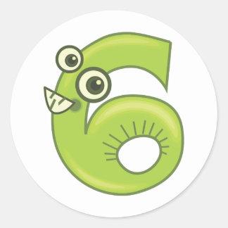 Animal number 6 classic round sticker