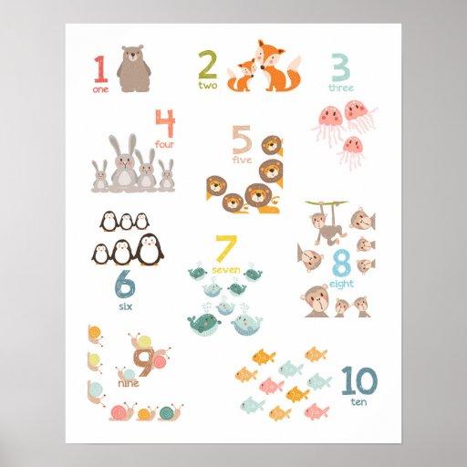 Animal numbers nursery print numbers Kids room   Zazzle