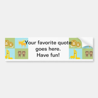 Animal on zigzag chevron - Lime Green and Blue Bumper Sticker