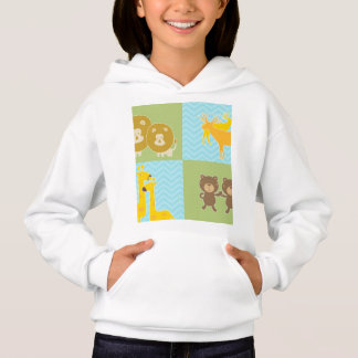Animal on zigzag chevron - Lime Green and Blue Hoodie