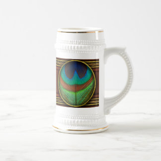 Animal - pájaro - pluma del pavo real jarra de cerveza