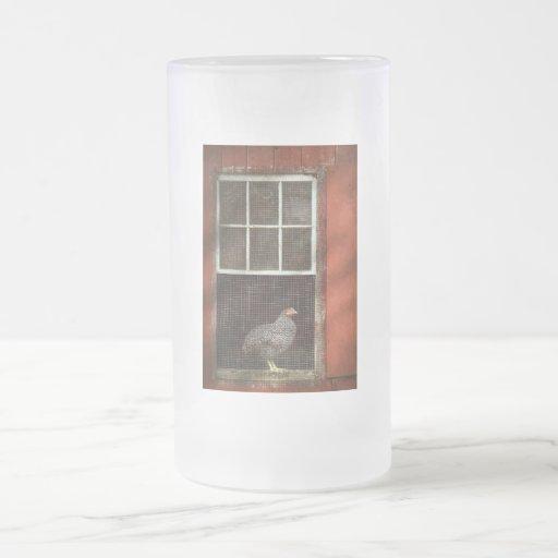 Animal - pájaro - pollo en una ventana taza de cristal