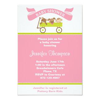 Animal Pals Pink Baby Shower Invitation