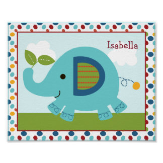 Animal Parade Elephant Personalized Nursery Art Posters