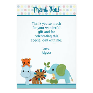 "Animal Parade jungle Thank You 3.5""x5"" APK (FLAT) Personalized Invitation"