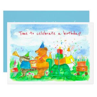 Animal Parade Kids Birthday Party Invitation