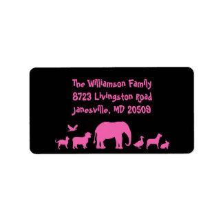 Animal Parade Return Address Labels Pink