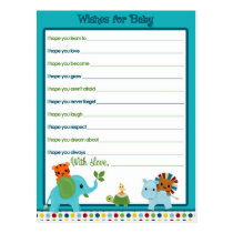 Animal Parade Wishes for Baby Advice Cards