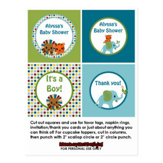 Animal Parade ZOO Baby Shower Cupcake Topper APK Post Cards