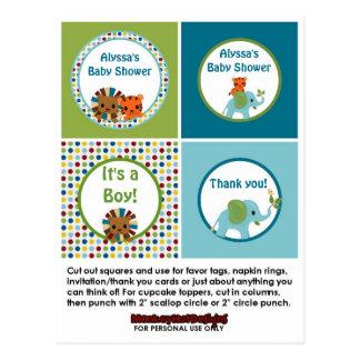Animal Parade ZOO Baby Shower Cupcake Topper APK Postcard