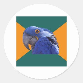 Animal paranoico Meme del consejo del pájaro del l Pegatinas Redondas