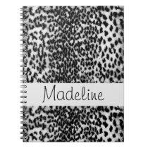 Animal pattern, black, white, monogram notebook
